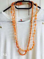 Naszyjnik kolia pomarańczowy trzy łańcuszki razem