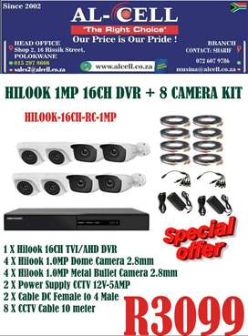 HILOOK 1MP 16CH DVR +8 CAMERAS KIT