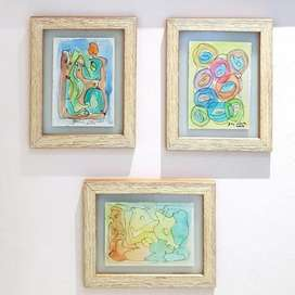 Series of 3 Abstract WATERCOLOUR PAINTINGS, Wooden Framed