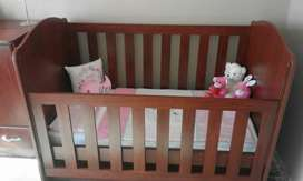 Wooden Cot with matching chest of drawers