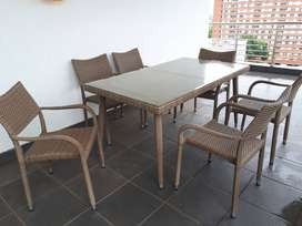 Gabriela 7-piece Outdoor Patio Garden Table with 6 chairs