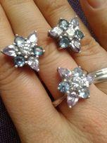 Набор кольцо+серьги серебро 925