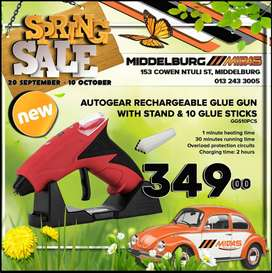 AutoGear Rechargeable Glue Gun with Stand & 10 Glue Sticks ONLY R349