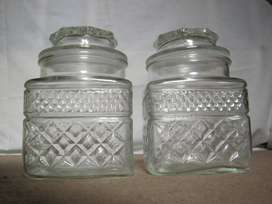 Square glass cannister with lid