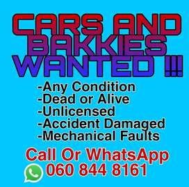 Mechanical Defected Cars and Bakkies Wanted!
