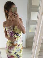 nowa sukienka midi w kwiaty floral 34XS hiszpanka odryte ramiona