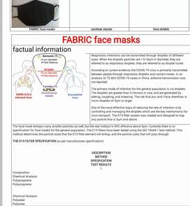 Face masks with d15 filter