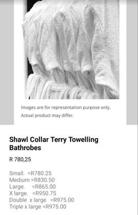 Gown(shawl collar terry toweling bathrobes)