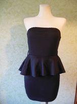 Czarna sukienka z beskinką mini - rozmiar M/L