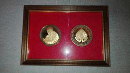 Medal/medale w ramce,Papiez,wizyta Jana Pawla w Wielkiej Brytanii 1982