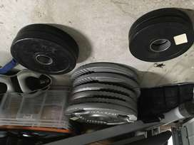 Barbell, rack, bench and weight plates