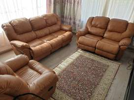 3 piece Brown fabric leather couches for sale