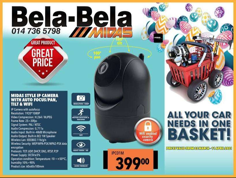 Midas Style IP Camera with Auto Focus/Pan, Tilt & WIFI for ONLY R399!