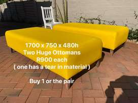 Large Yellow Ottomans