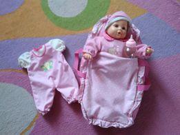 Кукла пупс с кроваткой-переноской, бутылочкой, сменной одежкой