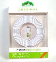 Кабель iPhone USB micro USB 2 метра Premium Flat USB cable