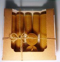 Набор новогодний 7 свечей из пчелиного воска
