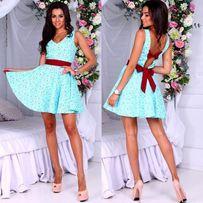 Женское летнее платье с открытой спиной на бантах бирюзовое