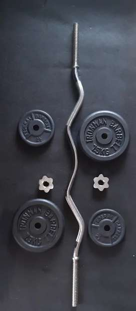 EZ bar and 20kg weights