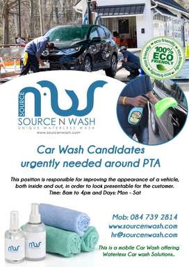 Mobile Car washers needed in PTA north