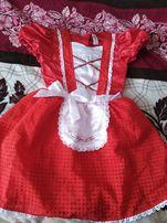 Шикарное платье красной шапочки на 7-8лет