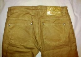 Spodnie 3/4 złote jeansowe z cyrkonikami.