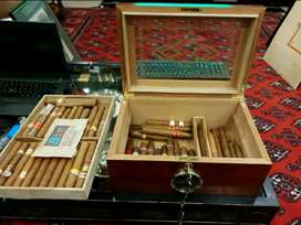 Rosewood Humidor Box, With 60+ Assorted Cigars & Other Humidor Boxes