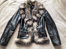 Кожаная куртка с натуральным мехом 1600 грн