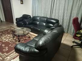 Leather couch,  black color