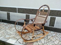 Крісло качалка з лози розборна (Бук + ротанг)