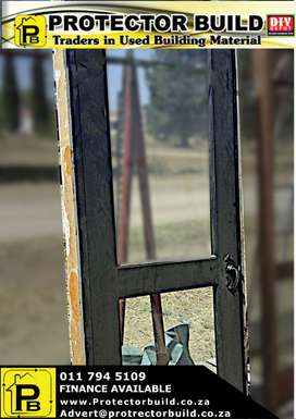 Second hand wooden door with wooden frame for sale