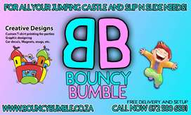 Jumping Castles, Waterslides, T-shirt printing, magnets