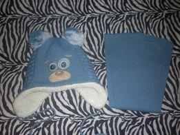 Теплая шапка+шарф 2-6лет