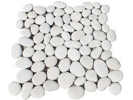 Mozaika Otoczak Biały Matowy, Otoczak Thasos, Kamień Naturalny, Ściany