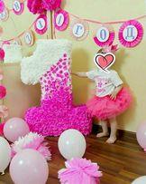 Цифра единичка,тройка и атрибуты для декора Дня Рождения для девочки