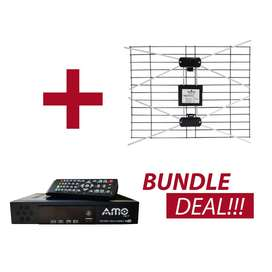 AMO Combo Digital TV Decoder DVB T2 + S2 with Arial