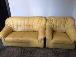 Sofa 2x i fotel, skóra naturalna, kanapa skórzana, fotel skóra