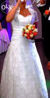 Koronkowa suknia ślubna z kryształkami Swarovskiego-Okazja Tanio !!!