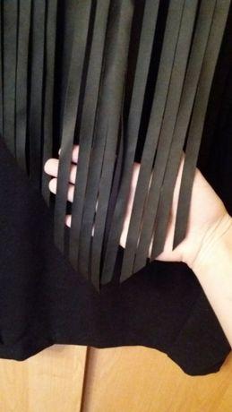 Черное платье с кожаными вставками 38/44/m Харьков - изображение 4