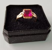 Антикварное золотое кольцо с натуральным рубином
