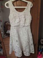 Sukienka biała gipiura koronka