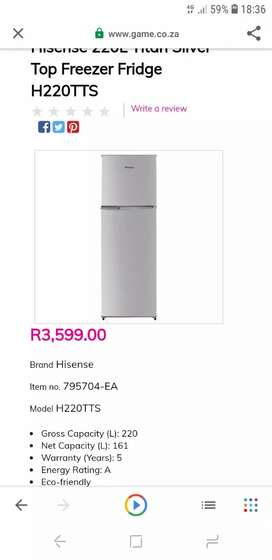 Hisense 220l fridge and freezer