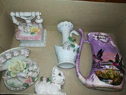 Sprzedam porcelanowe ozdoby kot, telefon, muszla, wazonik - 5 szt.