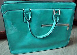 torebka miętowa złote elementy teczka aktówka a4 pasek pojemna zielona