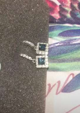 Blue sapphire and cubic zirconia earrings (silver)