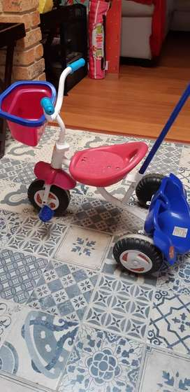 Toddler push handle tricycle
