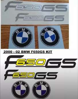 Decal sticker kit for a 2000 BMW F650 GS Motorcycle.