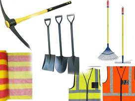 Construction Tools,Picks,Spades,Shovels,Rakes,Droppers and Barricading