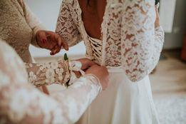 Suknia slubna+kolo + welon 3m + szlafrok
