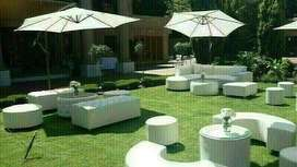 UMBRELLAS AND COUCHES HIRE, LOUNGE DECOR SET UP